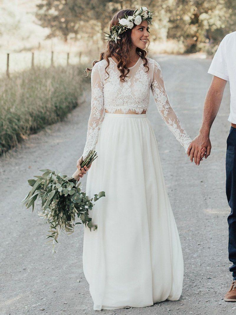 Eingereicht Lange Ärmel Kugel Bodenlang Halle Hochzeitskleid