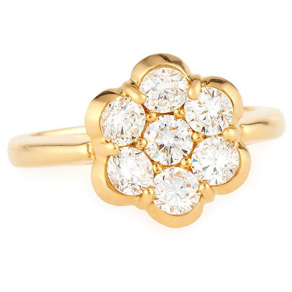 Bayco 18K Yellow Gold & Diamond Flower Ring (459.130 RUB) ❤ liked on Polyvore featuring jewelry, rings, diamond jewelry, gold jewellery, floral diamond ring, 18k gold jewelry and diamond rings