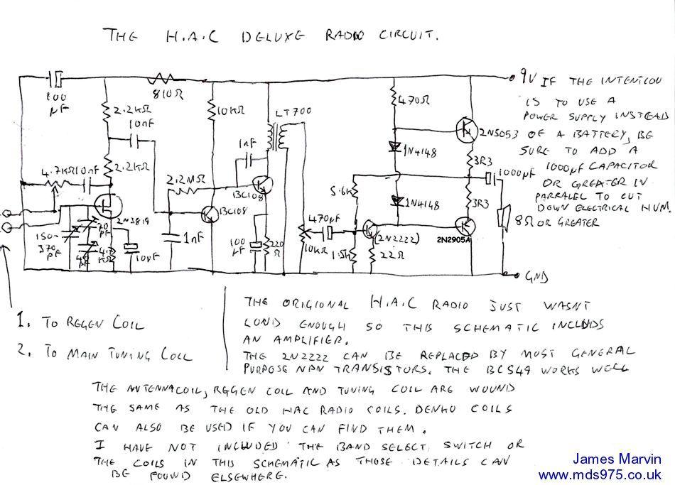 James Marvin's HAC TRF Radio - schematic circuit diagram ... on