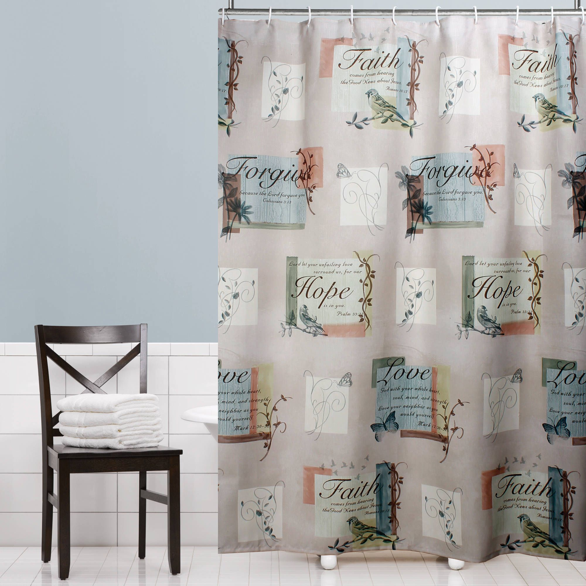 Mainstays Stained Glass Meadow Peva Shower Curtain 1 Each Walmart Com Fabric Shower Curtains Curtains Printed Shower Curtain
