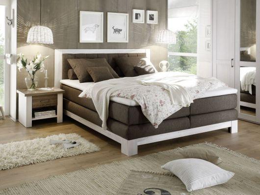 NOAH I Boxspringbett 180x200 cm Pinie weiß braun Schlafzimmer - schlafzimmer braun wei