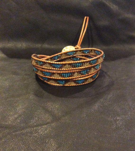 Chan Luu style Boho Beaded wrap leather by LenettsCollections.  Boho Hippie ChanLuu Leather Wrap Bracelet Etsy Jewelry  Yoga Gift Tribal