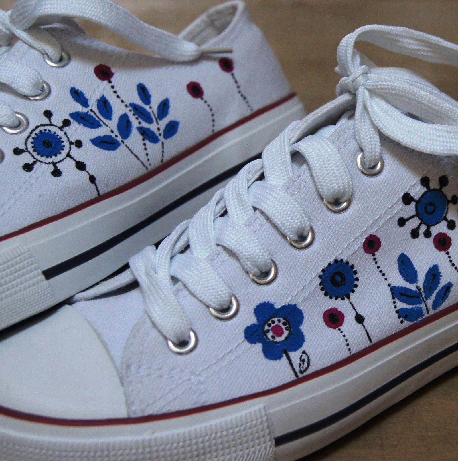 5c1796d695 Malované tenisky bílé vel.37-41 Ručně malované bílé botičky