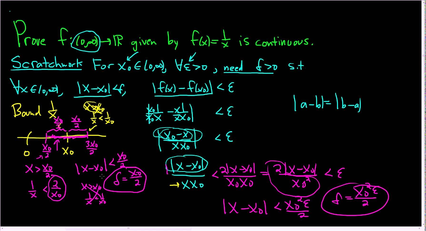 Proof That F X 1 X Is Continuous On 0 Infinity Using Delta Epsilon Math Videos Continuity Math