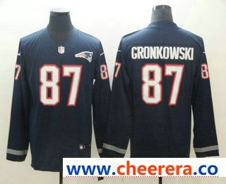 a04f66707 Men s New England Patriots  87 Rob Gronkowski Nike Navy Therma Long Sleeve  Limited Jersey