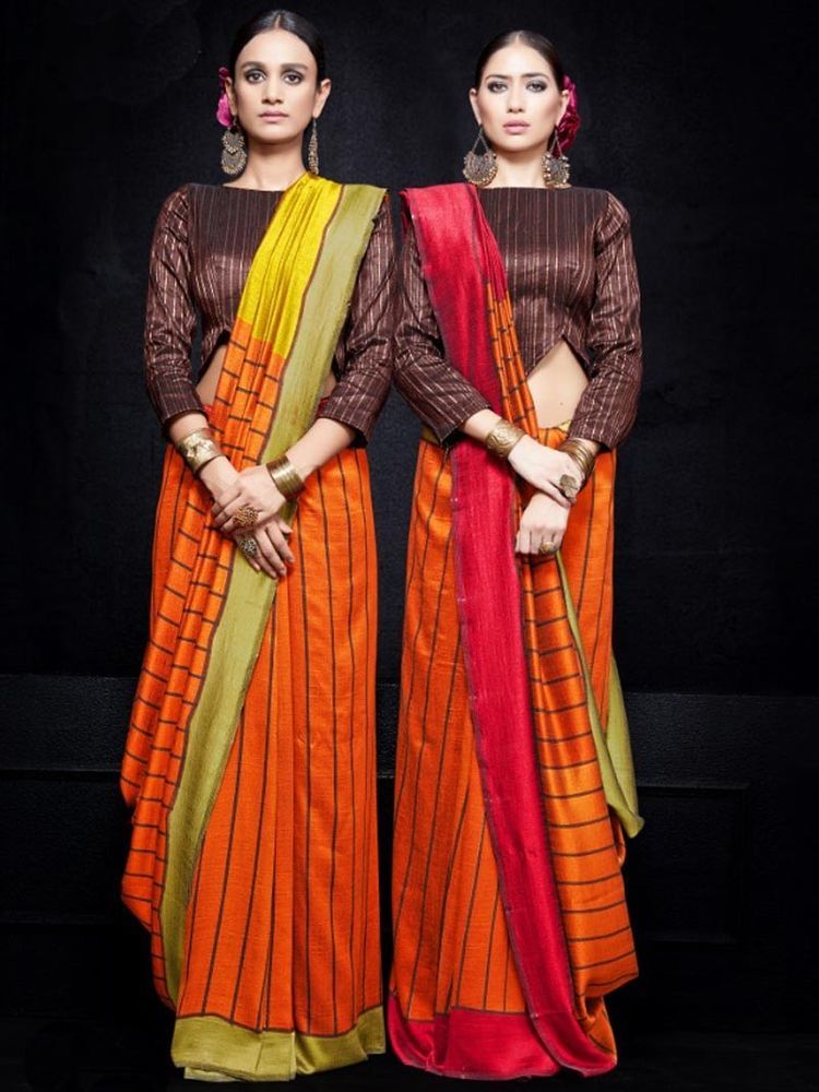 a774d4d35b4837 Double Side pallu latest designer silk georgette sari party wear saree  blouse #Handmade #Saree