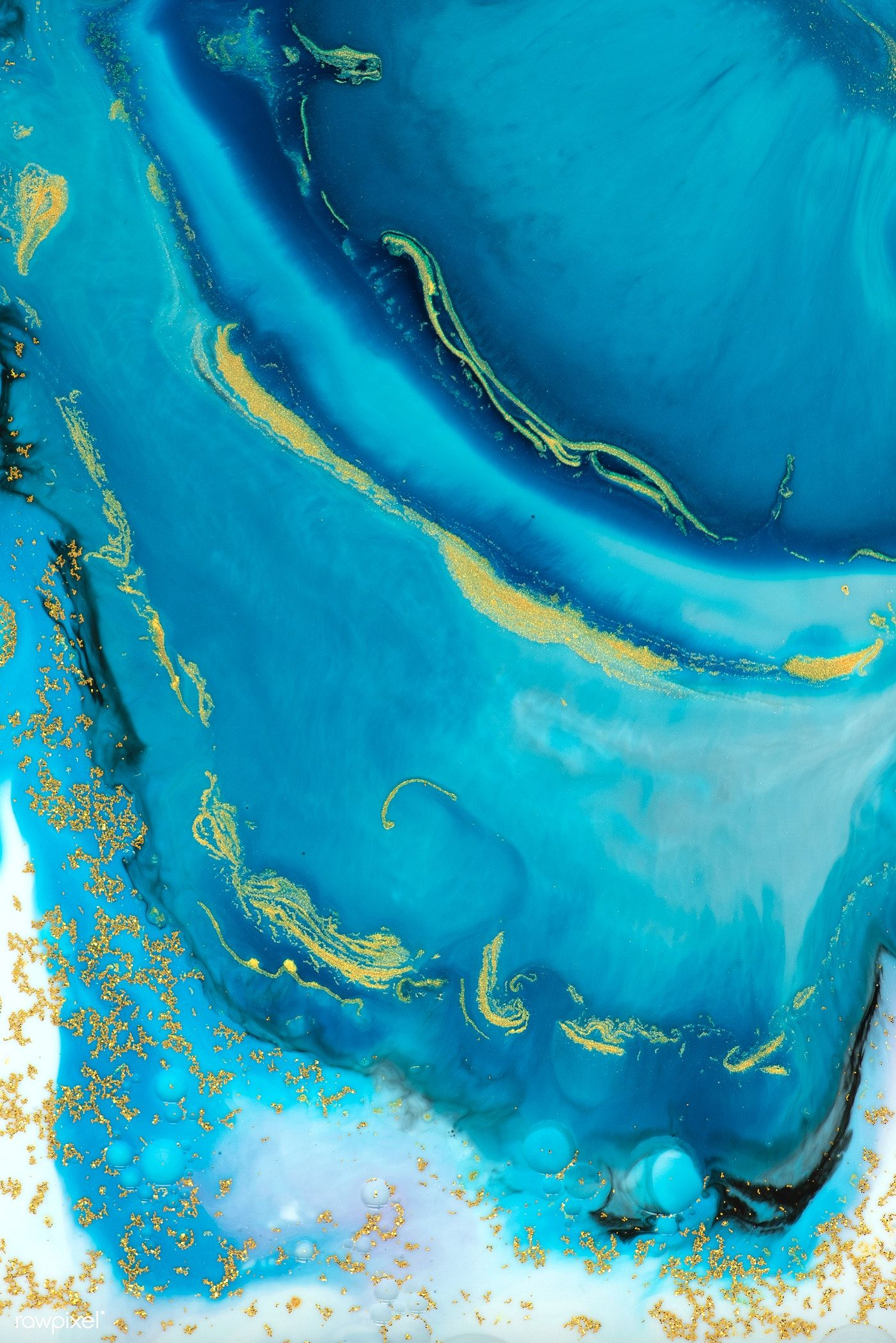 Abstract blue watercolor with gold glitter background