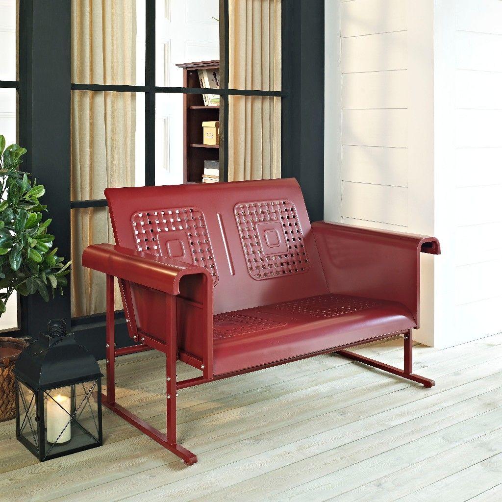 Veranda Loveseat Glider In Coral Red Crosley Co1027 Re Furniture Love Seat Outdoor Loveseat