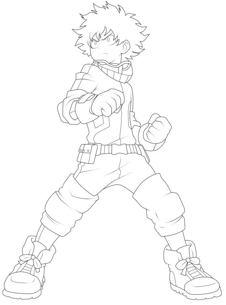 Izuku Midoriya Lineart By Chronofz Anime Character Drawing Anime Lineart Hero Poster