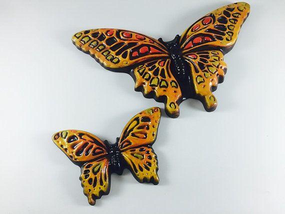 Farfalla dell'annata targhe in ceramica parete di LivingAVntgLife