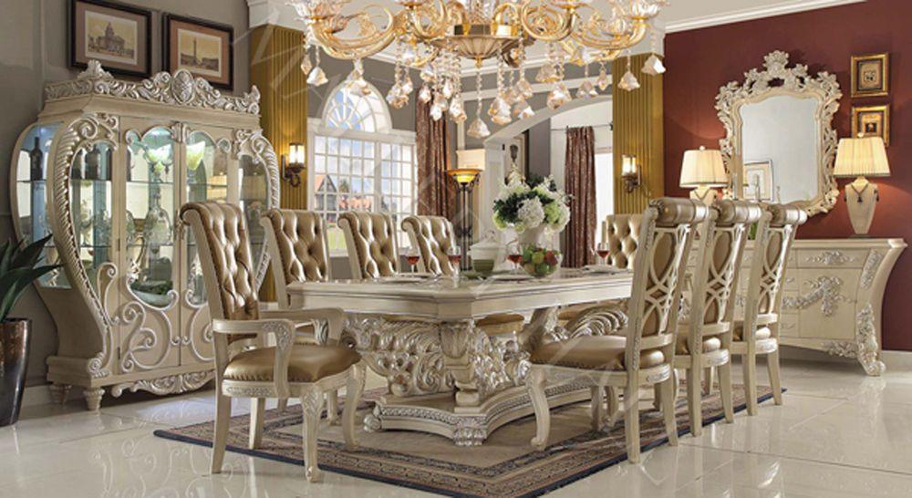 Elegantly Carved Champagne Tufted Rect Dining Set Ebay Sala De