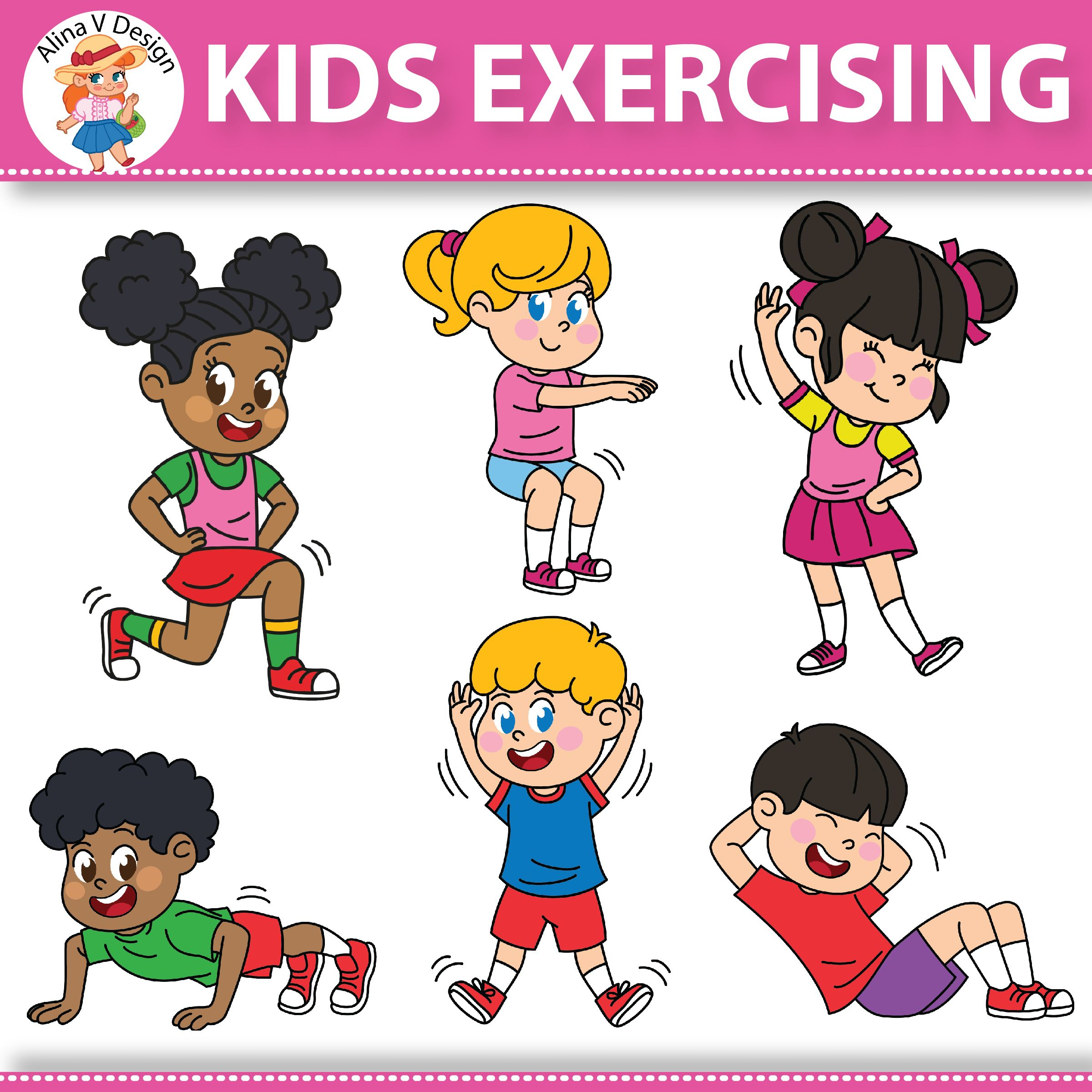 hight resolution of kids exercising exercises workout