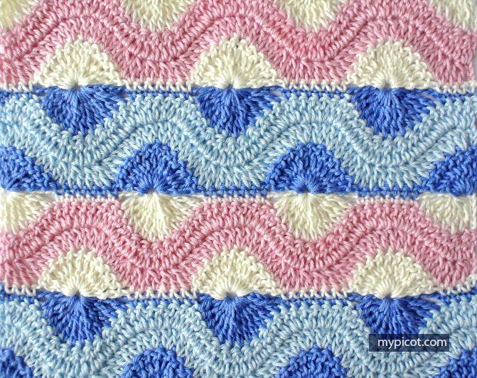 Free pattern @ MyPicot - Crochet Ripple Ring Stitch | tejido ...