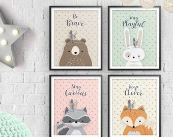 Print Set, Set of 4, Woodlands Nursery, Forest Animal Set, Nursery Art, Forest Friends, Nursery Forest Decor, Bear Fox Bunny Racoon, Neutral -    Edit Listing  - Etsy