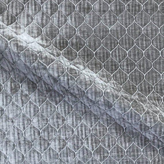 Stone Gray Ogee Woven Velvet Upholstery Fabric - 54 #velvetupholsteryfabric