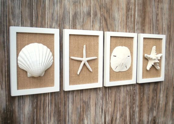 Photo of Beach Cottage Chic Wall Art, Nautical Decor, Beach House Wall Decor, Coastal Decor, Beach Decor, Coastal Wall Art, White & Natural Burlap