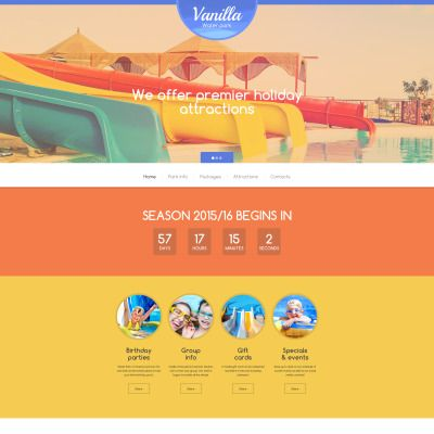 Vanilla water park website template website template design vanilla water park parallax website template maxwellsz