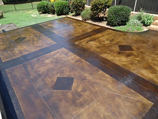Dark walnut chemstain acid stain home craft room for Black stains on concrete