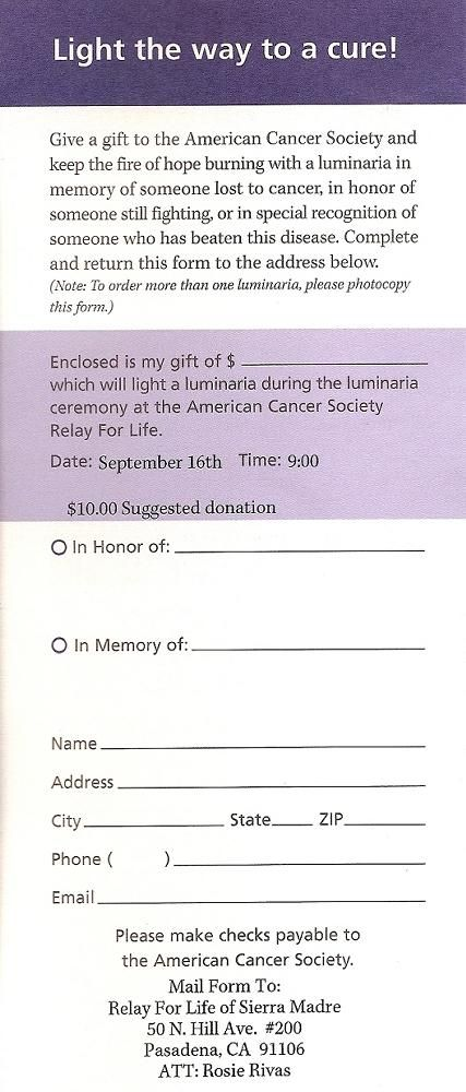 free clip art of relay for life Relay for life pledge forms Not - pledge form