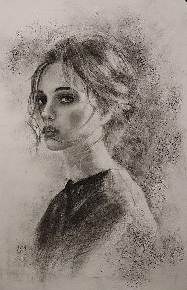 Рисунок углем портрет каждый раз