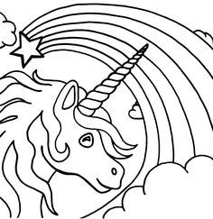 unicorn rainbow coloring pages 01 - Coloring Page Unicorn Rainbow