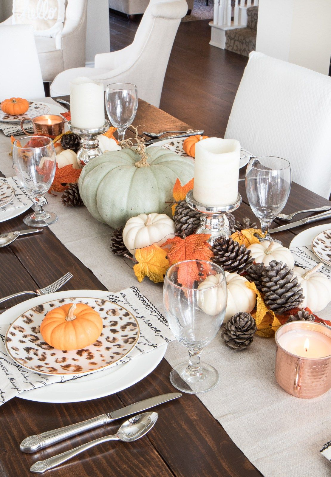 Fall Dining Room Tour Pumpkin Decor Tabletop Centerpiece Thanksgiving Table Leopard Dishes Far Fall Dining Room Fall Dining Table Dining Room Table Decor