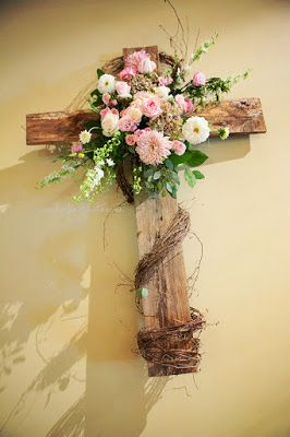Wood Wedding Cross With Pink Amp White Flowers Greenery