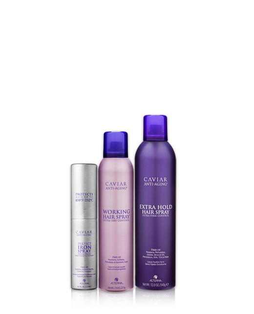 CAVIAR Anti-Aging STYLE line byAlterna Haircare | CAVIAR STYLE Create runway-ready styles with long-lasting hold. Formulated to prevent damage caused by heat styling and environmental stresses.