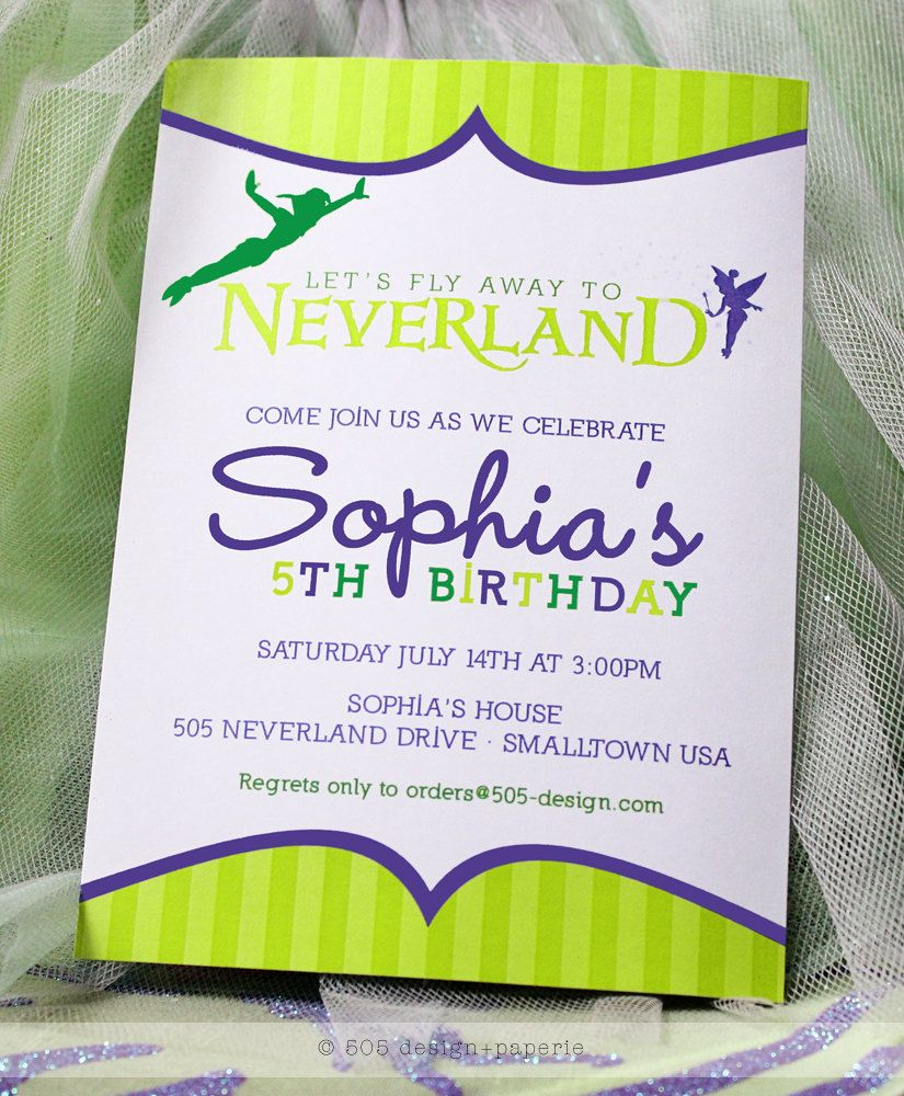 Printable Neverland Invitation Peter Pan Tinkerbell Inspired – Neverland Party Invitations