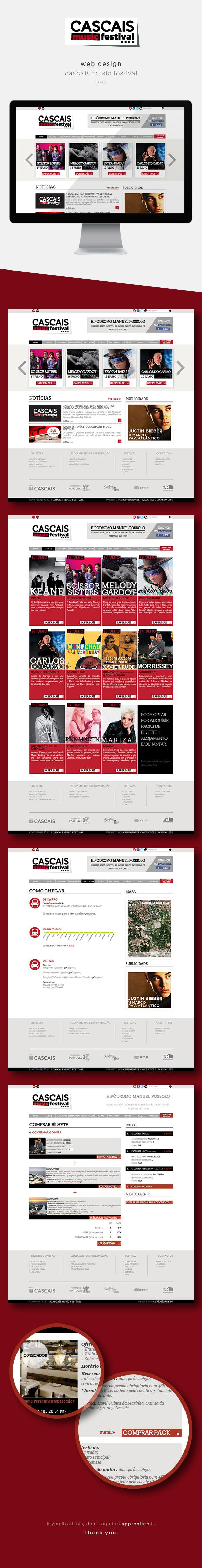 Website Cascais Music Festival by Andrea Sousa, via Behance #webdesign