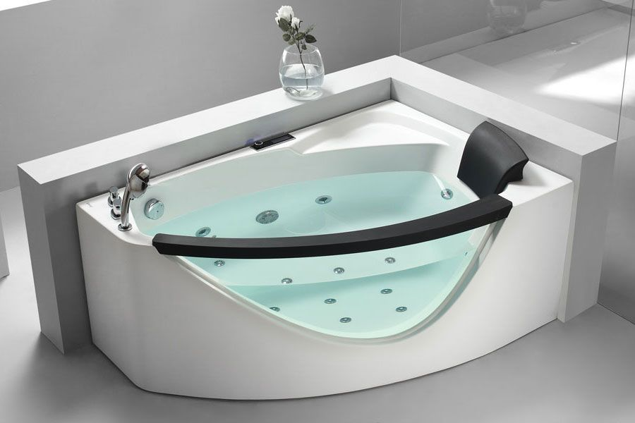 Modern corner tub, LED light settings, digital sound system via ...