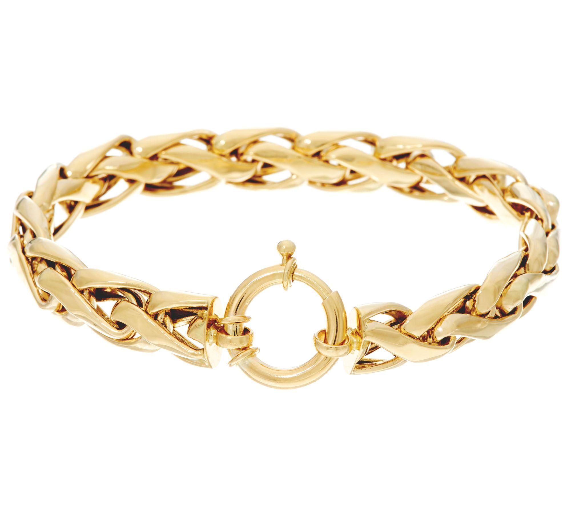14k Gold Polished Woven Wheat Bracelet