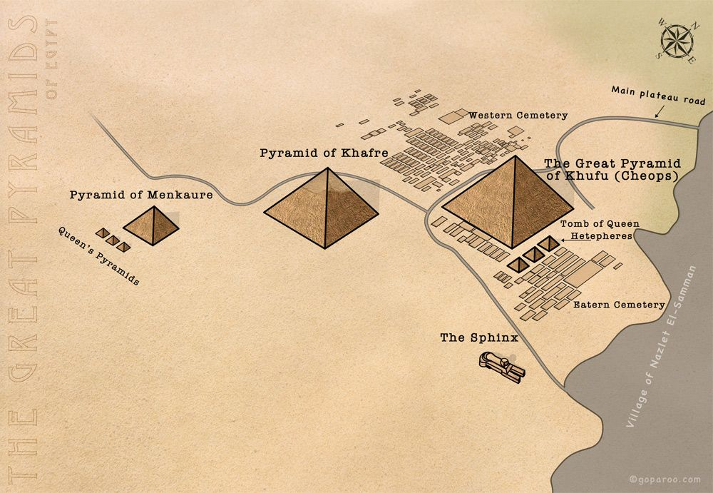 The Great Pyramid Of Khufu The Great Pyramids Plateau Of - Map of egypt pyramid locations