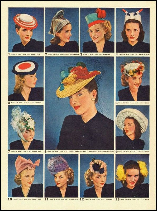 1940s Hats History 20 Popular Women S Hat Styles 1940s Hats Hats Vintage Hat Fashion
