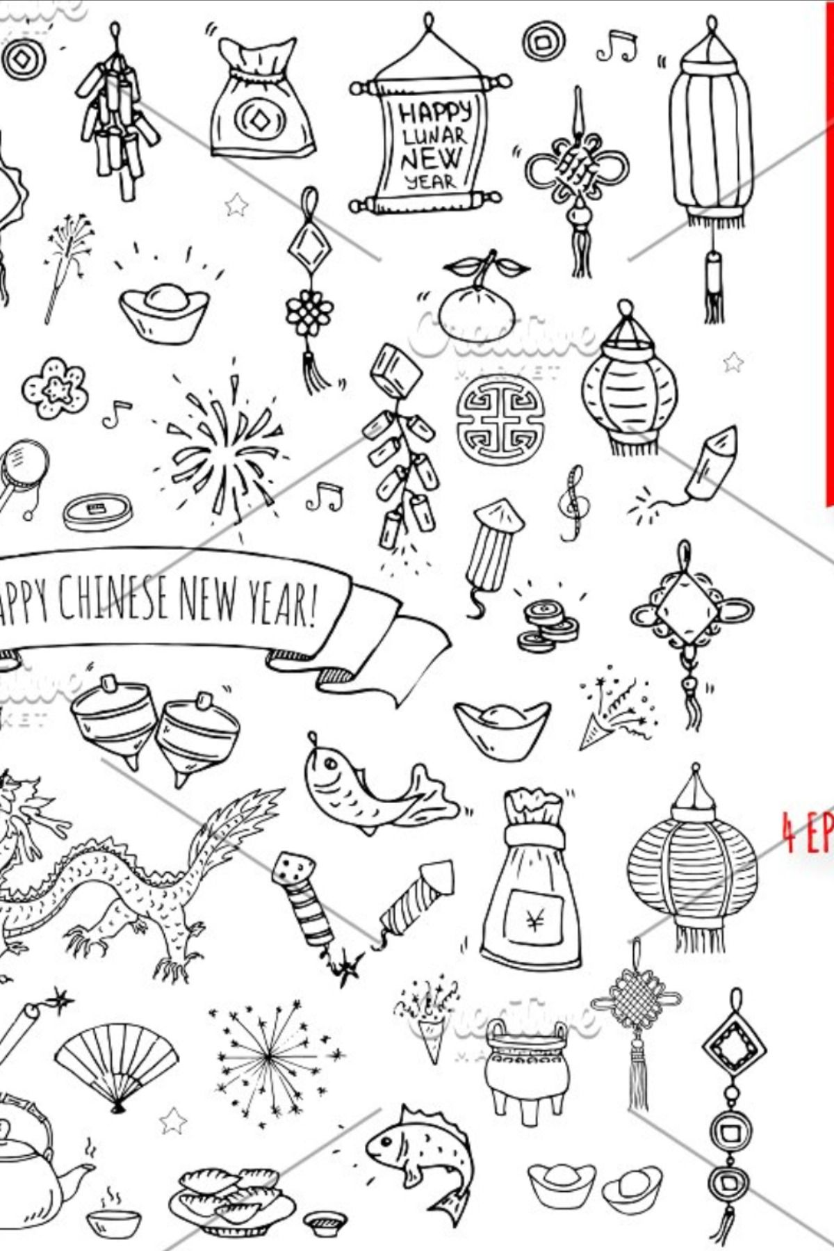 77 Chinese New Year hand drawn icons in 2020 Hand drawn