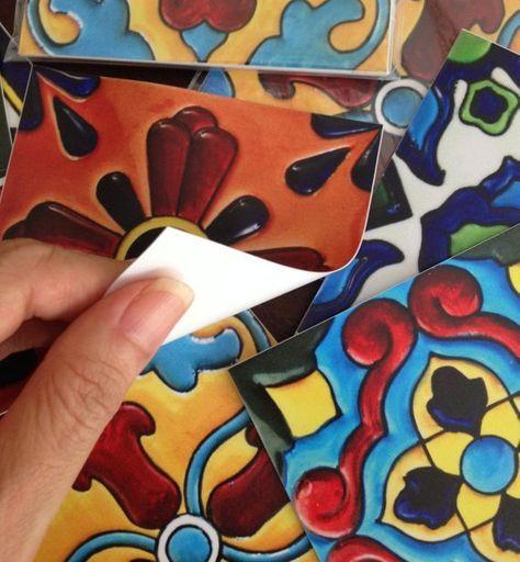 Kitchen bathroom tile decals vinyl sticker mexican spanish mix decals tr001 deko - Fliesen mexikanischer stil ...
