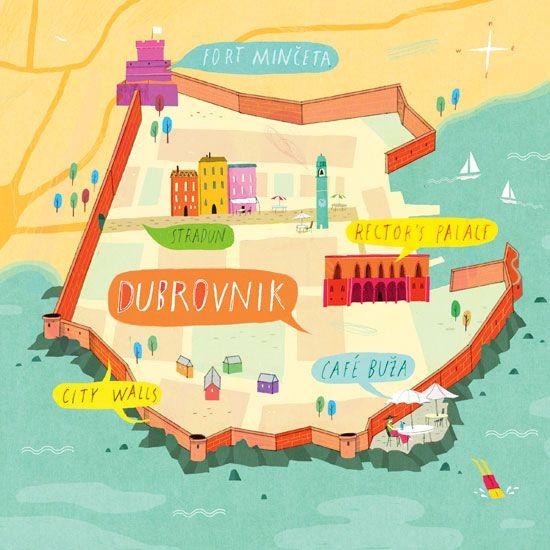A La Verdenius Draw A Cityguide Kaart Illustraties Kroatie Vakanties