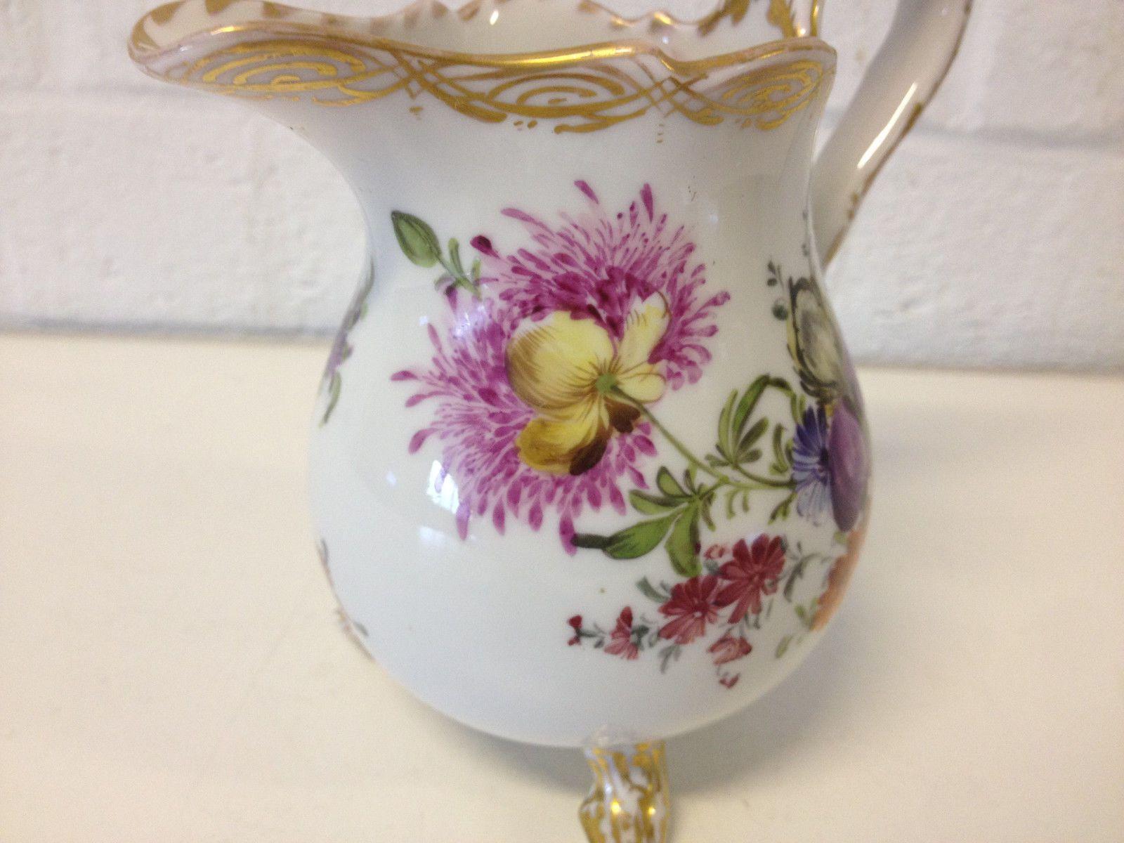 Vintage Antique German Meissen Porcelain Creamer w Hand Painted Floral Dec   eBay