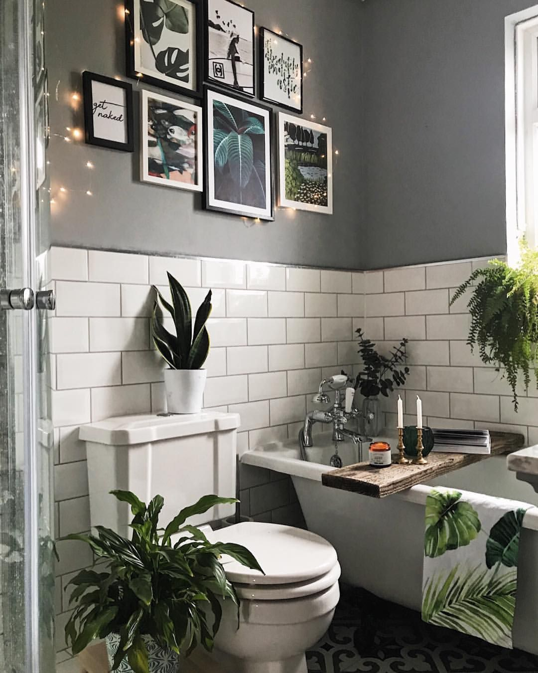 Gallery Wall Art In The Bathroom Grey And Metro White Tile Decor With Plants Melaniejadedesign White Bathroom Designs Bathroom Tile Designs Bathroom Interior