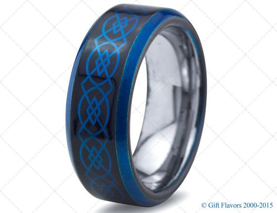 Mens Tungsten RingBlue Black Men Tungsten RingsCeltic Wedding