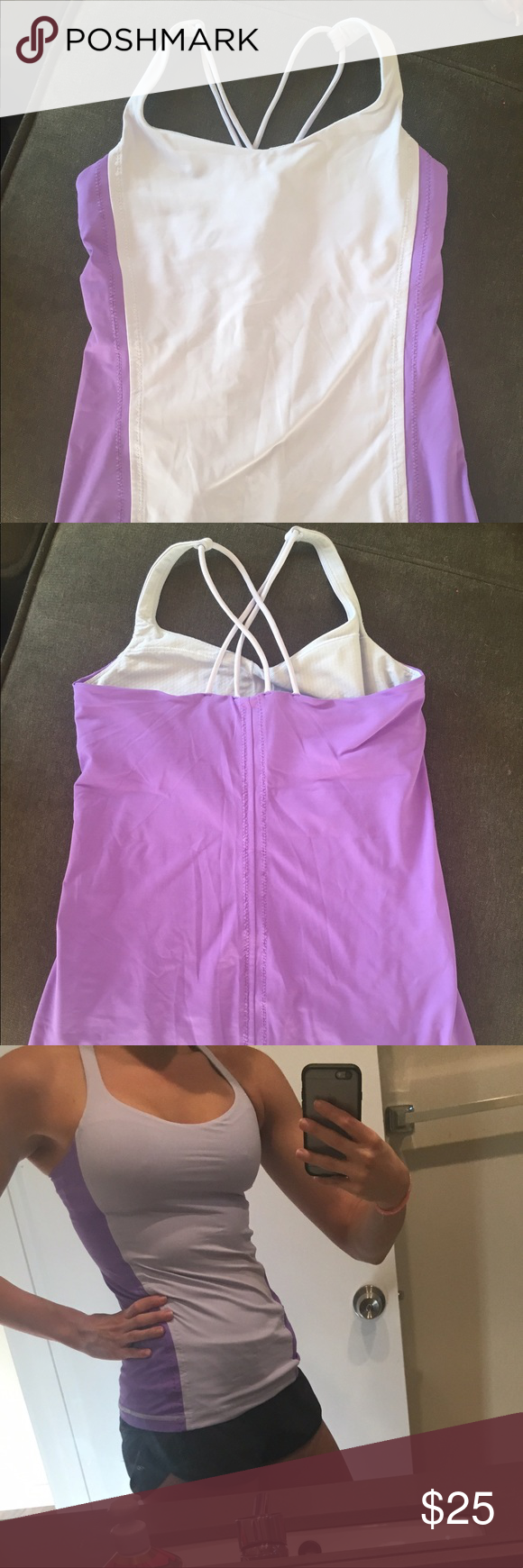 Lululemon Tank Size 6. Gently worn. In perfect condition. Two shaves of purple. Built in bra lululemon athletica Tops Tank Tops