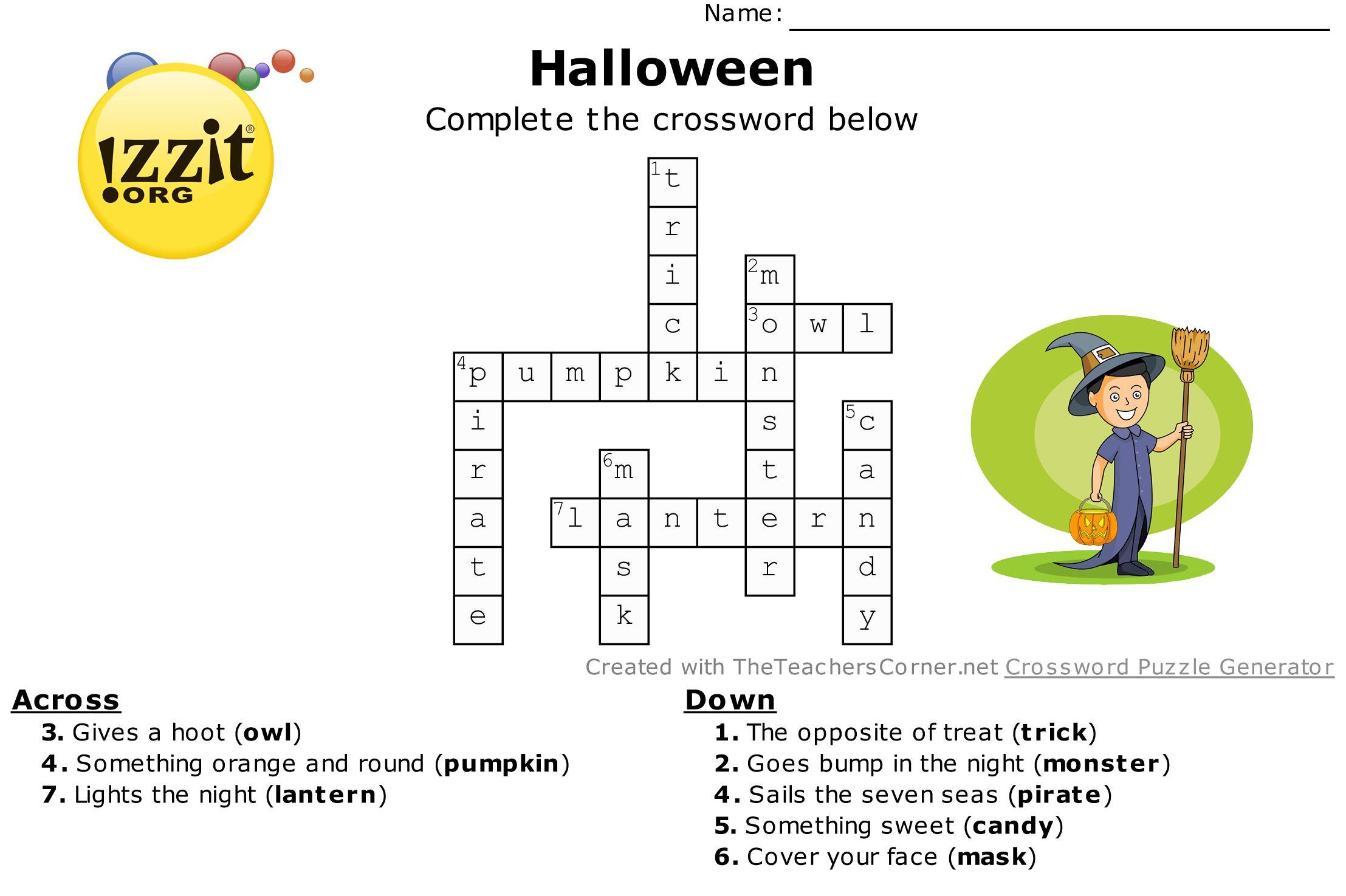 Halloween Crossword Answers Easy HappyHalloween