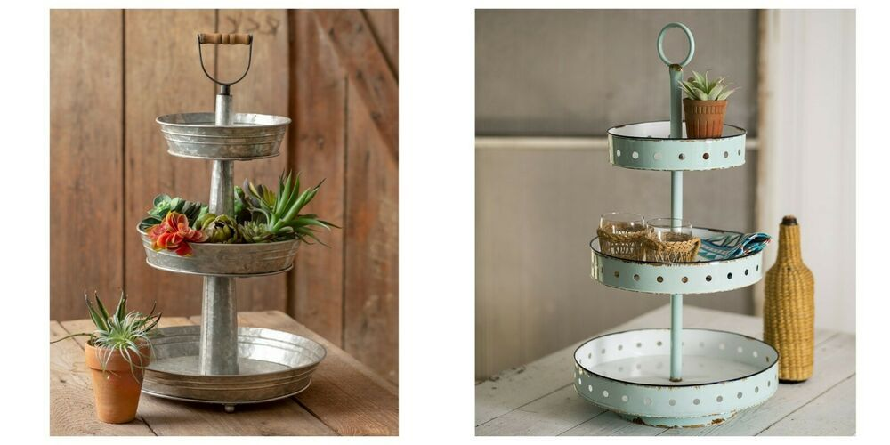 3 Tier Serving Tray Metal Tiered Display Organizer Farmhouse Style New Decor Unbranded Farmhouse Farmhouse Style Decor 3 Tier Serving Tray