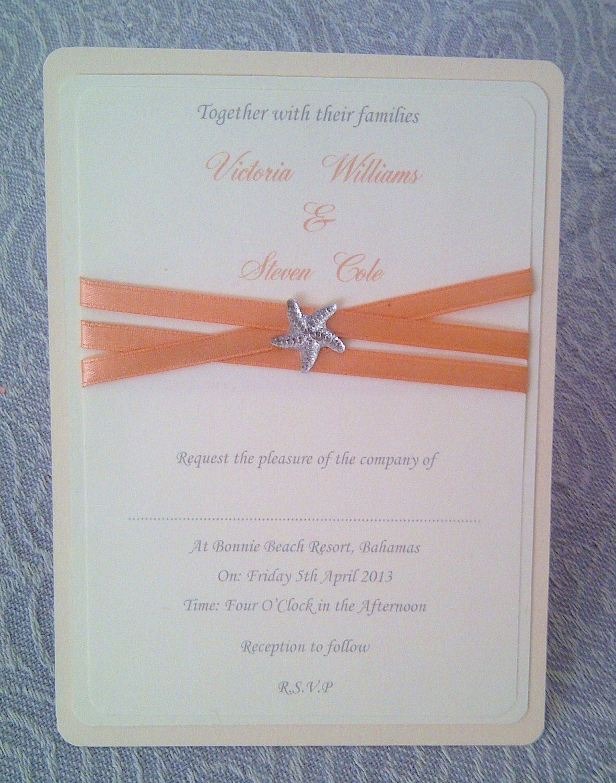Modern Starfish Beach themes Wedding Invitation Card, with coral ...