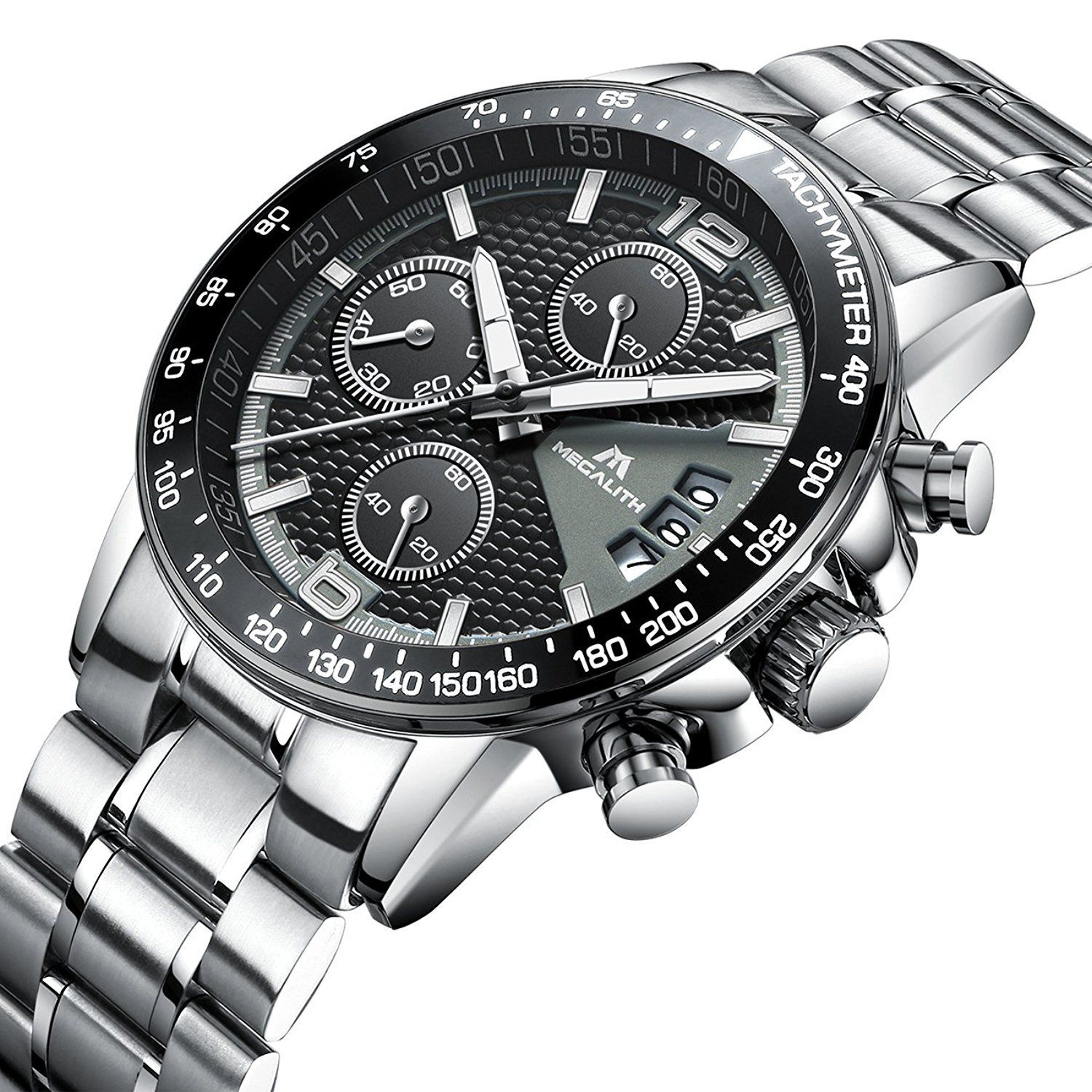 5e994f1b6 Model: Gladiator Megalith Movement: Japan Quartz Features: Chronograph, Day  Calendar Water Resistance Depth: 3Bar Case Material: Stainless Steel Band  ...