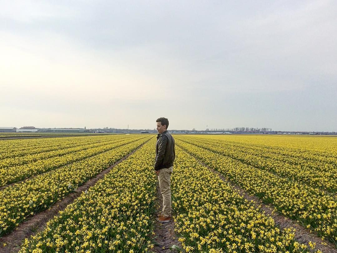 2april2016_17:20 @earangob in the yellow zone. #portuguese #student #trip #colour #iphone5s #daily #memories #friends #memories #bike #flowers #netherlands #lisse #yellow #spring by leonardomanuelsantos