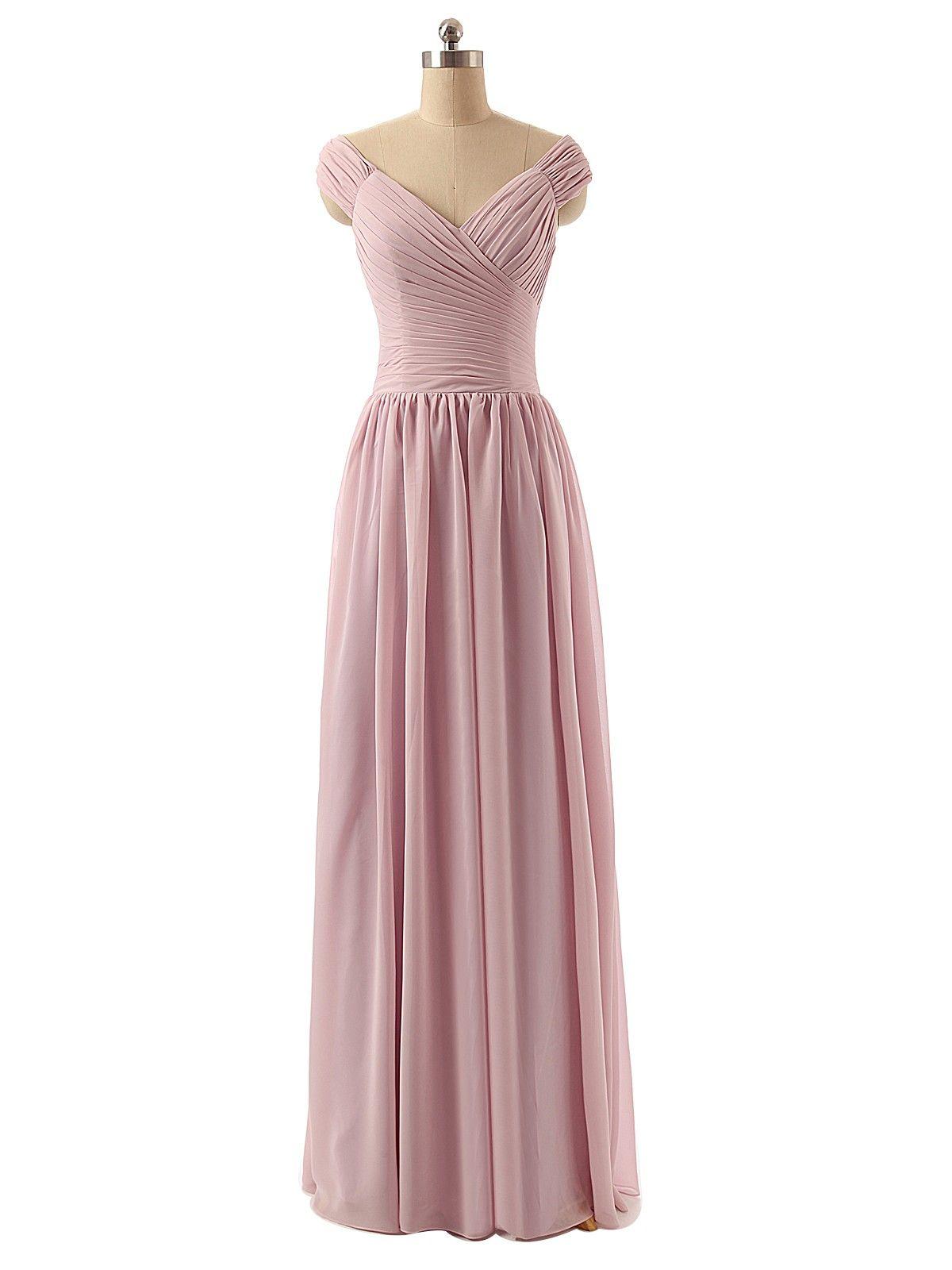 Cap sleeve dusty rose chiffon long bridesmaid dress