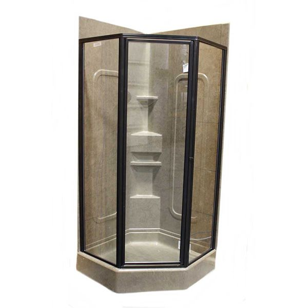 32u2033 Neo Angle Shower Door With Clear Glass And Oil Rubbed Bronze Finish Side
