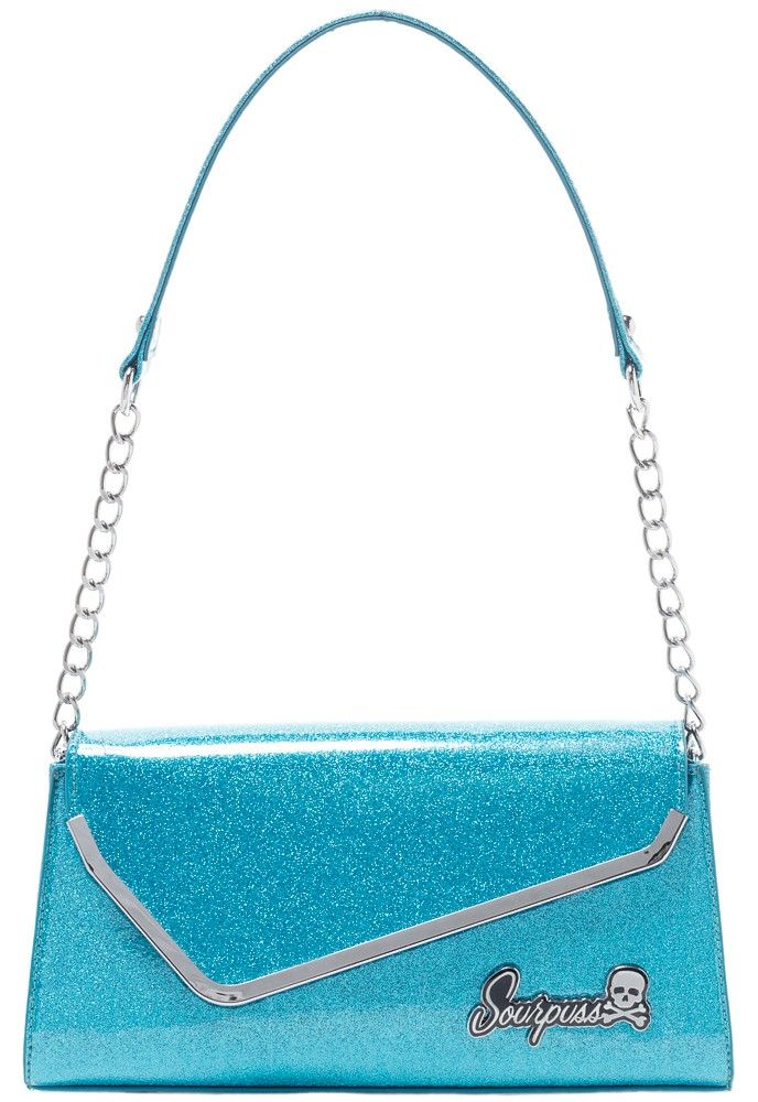 SOURPUSS+REPOP+PURSE+TURQUOISE+-+If+you+love+the+sleek+lines+of+vintage+cars+and+similar+inspired+wares,+then+you+NEED+to+check+out+our+Repop+Purse!+This+turquoise,+glittery+vinyl+purse+features+a+chain+handle+and+a+magnetic+snap+closure+for+easy+everyday+use!+Once+inside+you+can+swoon+over+the+interior+open+pocket+for+your+cell+phone+or+wallet,+zipper+pocket,+and+satin+harlequin-patterned+lining.
