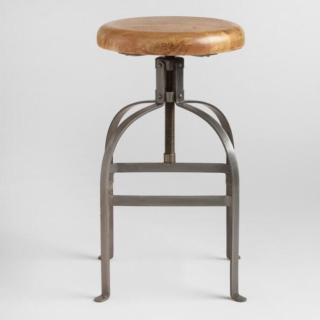Awe Inspiring Adjustable Round Wood And Metal Stool V2 Our Kitchen Pabps2019 Chair Design Images Pabps2019Com